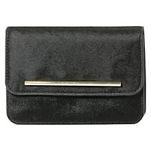 Buy Mango Leather Faux Fur Clutch Bag, Black Online at johnlewis.com