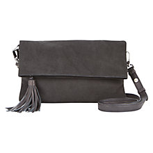 Buy Mint Velvet Fifi Nubuck Leather Clutch Bag, Charcoal Online at johnlewis.com