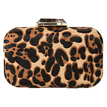 Buy Mango Leather Faux Fur Clutch Bag, Dark Brown Online at johnlewis.com