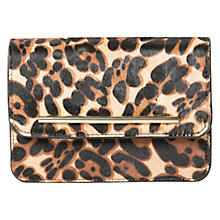 Buy Mango Leather Faux Fur Leopard Print Clutch, Dark Brown Online at johnlewis.com