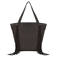 Buy Mint Velvet Mila Fringe Tote Bag, Black Online at johnlewis.com