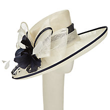 Buy John Lewis Fran Upturn Loop and Feather Occasion Hat, Navy/Ivory Online at johnlewis.com