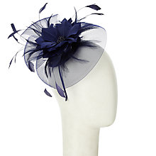 Buy John Lewis Sara Crin and Feather Mini Disc Fascinator, Navy Online at johnlewis.com