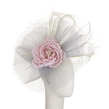 Buy Snoxells Heather Crin and Flower Fascinator, Dove Grey/Pastel Pink Online at johnlewis.com