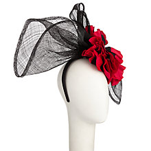 Buy Snoxells Lee Poppy Fascinator, Black/Red Online at johnlewis.com