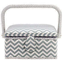 Buy John Lewis Zig Zag Print Small Square Sewing Basket, Grey Online at johnlewis.com