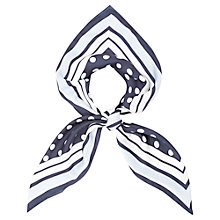 Buy Viyella Spot Silk Square Scarf, Navy Online at johnlewis.com