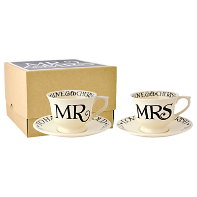 Emma Bridgewater Black Toast Mr & Mrs Cup and Saucer Set