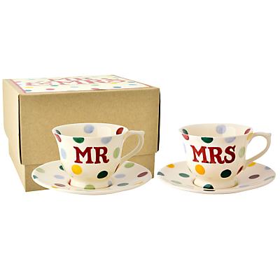 Emma Bridgewater Polka Dot Mr & Mrs Cup & Saucer