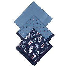 Buy John Lewis Paisley Handkerchief, Pack of 3, Navy Online at johnlewis.com