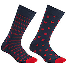 Buy John Lewis Hearts and Stripes Socks, One Size, Pack of 2, Black/Red Online at johnlewis.com