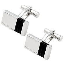Buy Ted Baker Wrapped Metal Leather Cufflinks, Silver/Black Online at johnlewis.com