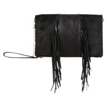 Buy Oasis Middle Fringe Felicity Clutch Bag, Black Online at johnlewis.com