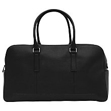 Buy Reiss Lever Leather Weekend Holdall, Black Online at johnlewis.com