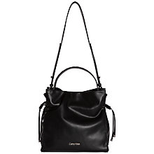 Buy Calvin Klein Amber Drawstring Hobo Bag, Black Online at johnlewis.com