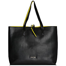 Buy Calvin Klein Joyce Saffiano Leather Reversible Tote Bag, Black/Yellow Online at johnlewis.com