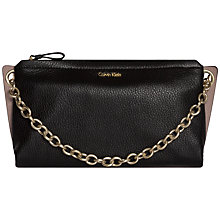 Buy Calvin Klein Mia Leather Clutch Bag, Black Online at johnlewis.com