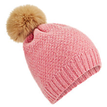 Buy Jigsaw Junior Faux Fur Pom Pom Hat, Pink Online at johnlewis.com