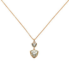 Buy Finesse Swarovski Crystal Large Twin Trilliant Pendant, Rose Gold Online at johnlewis.com