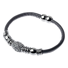 Buy Adele Marie Bead Leather Bracelet, Taupe/Silver Online at johnlewis.com
