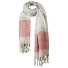 Buy Fat Face Brushed Placement Stripe Scarf, Grey/Salmon Online at johnlewis.com