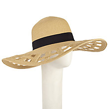 Buy John Lewis Cut Out Brim Floppy Hat, Natural Online at johnlewis.com