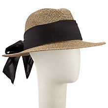 Buy John Lewis Tie Detail Fedora Hat, Sand/Black Online at johnlewis.com