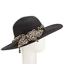 Buy John Lewis Ribbon Floppy Hat, Black Online at johnlewis.com