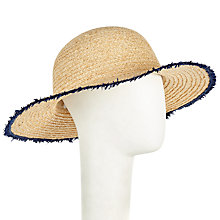 Buy John Lewis Raw Edge Garden Sun Hat, Natural/Navy Online at johnlewis.com