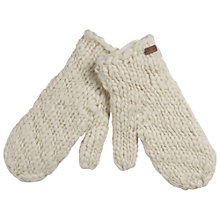 Buy Fat Face Hand Knit Lurex Mittens, Cream Online at johnlewis.com