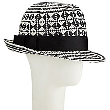 Buy John Lewis Bow Detail Trilby Hat, Black/White Online at johnlewis.com
