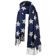 Buy Fat Face Star Jacquard Scarf, Navy Online at johnlewis.com