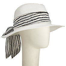 Buy John Lewis Stripe Tie Fedora Sun Hat, White Online at johnlewis.com