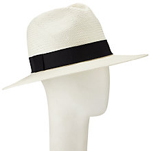 Buy John Lewis Panama Fedora Hat, Cream/Black Online at johnlewis.com