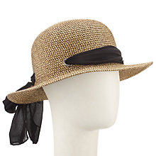 Buy John Lewis Small Brim Tie Detail Sun Hat, Sand/Black Online at johnlewis.com
