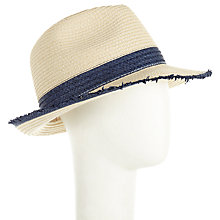 Buy John Lewis Trilby Raw Edge Hat, Natural/Navy Online at johnlewis.com