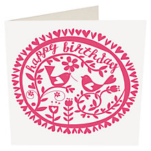 Buy Caroline Gardner Pink Birds Birthday Card Online at johnlewis.com