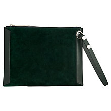 Buy Whistles Suede Wristlet Clutch Bag, Green Online at johnlewis.com