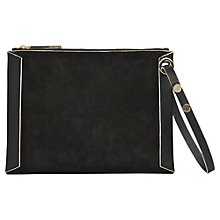Buy Whistles Suede Wristlet Clutch Bag, Black Online at johnlewis.com