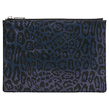 Buy Whistles Leopard Snake Medium Clutch, Navy Online at johnlewis.com