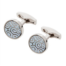Buy Simon Carter Archive Spiral Mother of Pearl Cufflinks, Blue Online at johnlewis.com