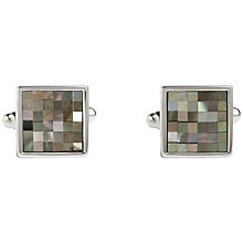 Buy Simon Carter Small Square Chequered Mother of Pearl Cufflinks, Grey Online at johnlewis.com