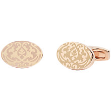 Buy Simon Carter for John Lewis Archive Print Foliage Trellis Cufflinks, Rose Gold Online at johnlewis.com