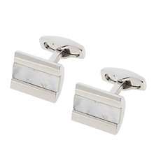 Buy Simon Carter Half Barrel Mother of Pearl Strip Cufflinks, Silver Online at johnlewis.com
