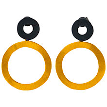 Buy Be-Jewelled Gold Plated Oxydised Sterling Silver Circle Drop Earrings, Gold/Black Online at johnlewis.com