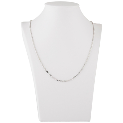 Be-Jewelled Rolo Style Sterling Silver Diamond Cut Chain Necklace, Silver