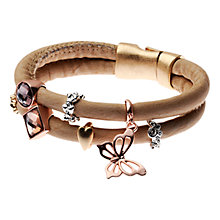 Buy Adele Marie Two Row Crystal Set Charm Bracelet, Brown/Rose Gold Online at johnlewis.com