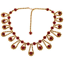 Buy Alice Joseph Vintage 1950s Gold Plated Diamante Necklace, Lemon/Cerise Online at johnlewis.com