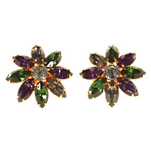 Buy Alice Joseph Vintage 1980s Flower Design Diamante Clip On Earrings, Pink/Red Online at johnlewis.com