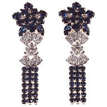 Buy Alice Joseph Vintage 1950s Claw-Set Diamante Drop Clip On Earrings, Blue/White Online at johnlewis.com